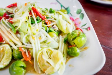 Green papaya salad Thai cuisine spicy delicious,SOM TAM.