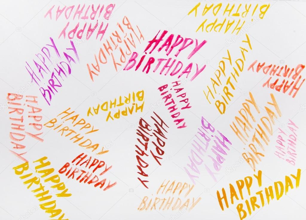 Inscription happy birthday watercolor stock photo multi colored inscriptions happy birthday watercolor it is possible to use as backgrounds or cards for a congratulation photo by lenanichizhenova bookmarktalkfo Choice Image