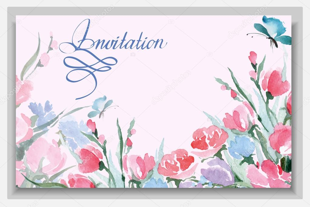 Wedding invitation cards with a wild flowers. (Use for Boarding Pass, invitations, thank you card.) Vector illustration.