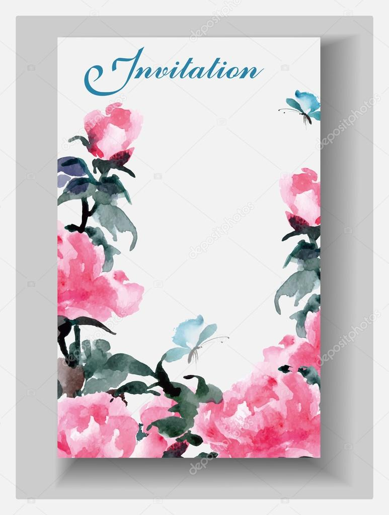 Wedding invitation cards with watercolor blooming peonies and with ...