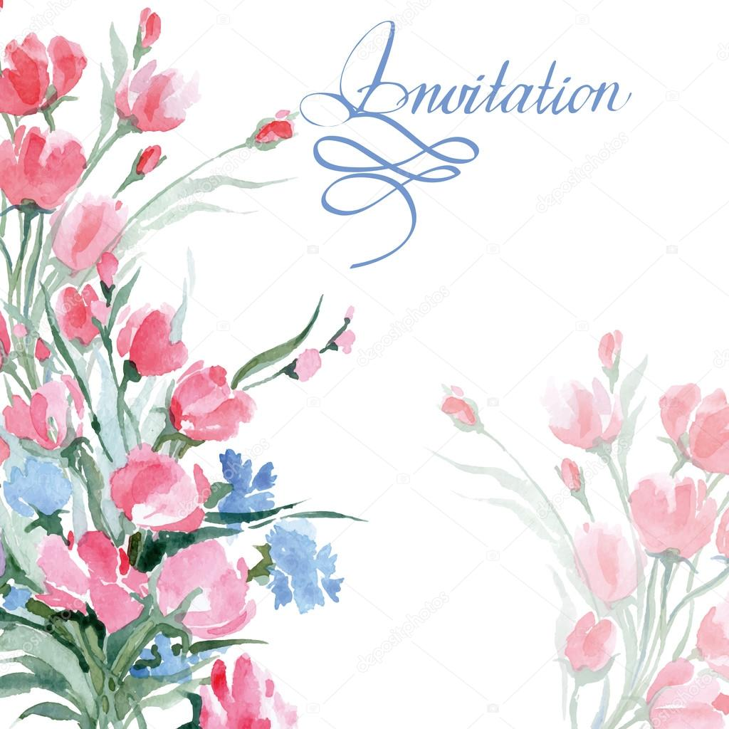 Wedding invitation cards with a watercolor wild flowers with place wedding invitation cards with a watercolor wild flowers with place for your text use for boarding pass invitations thank you card vector illustration stopboris Image collections