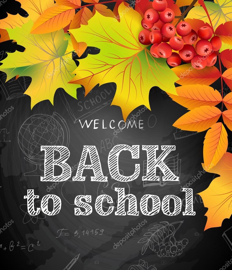 Willkommen Sie zurück zu Schule Hintergrund mit Herbstlaub und Rowan ...