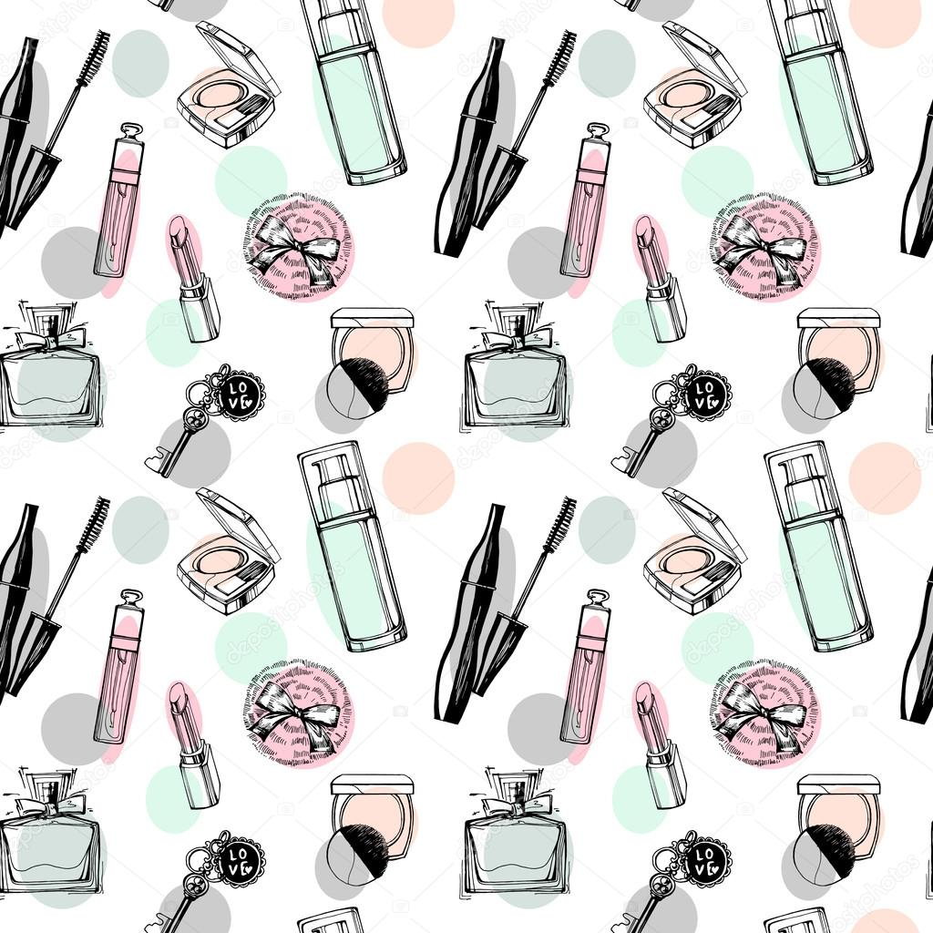 Fashionable seamless pattern with a beautiful perfume, mascara, keys, powder puff, blush. Cosmetics and fashion background. Vector illustration.