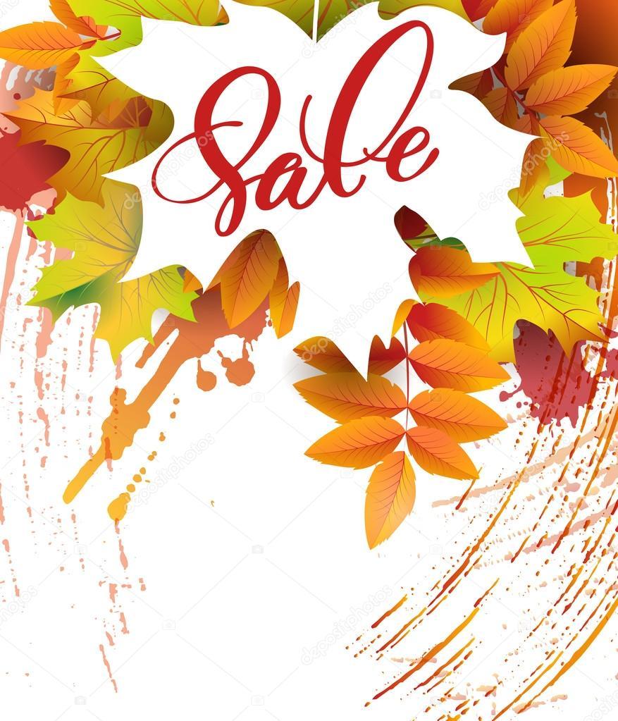 Im Herbst Laub Vektor Verkauf Banner mit Herbstlaub und Vogelbeeren ...