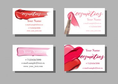 Vector illustration design of Makeup artist business cards with makeup items pattern of lipstick