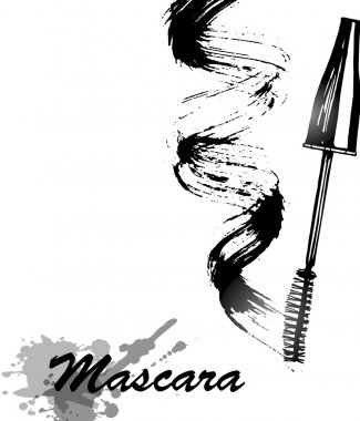 Mascara and brush stroke vector, beauty and cosmetic background. Vector illustration.