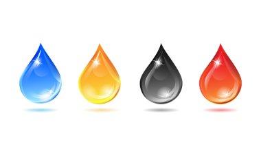 Set of multicolored droplets - Illustration