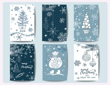 Set Of Christmas And New Year Greeting Cards with Christmas trees, snowman, Christmas decorations, snowflakes. Template Vector stock vector