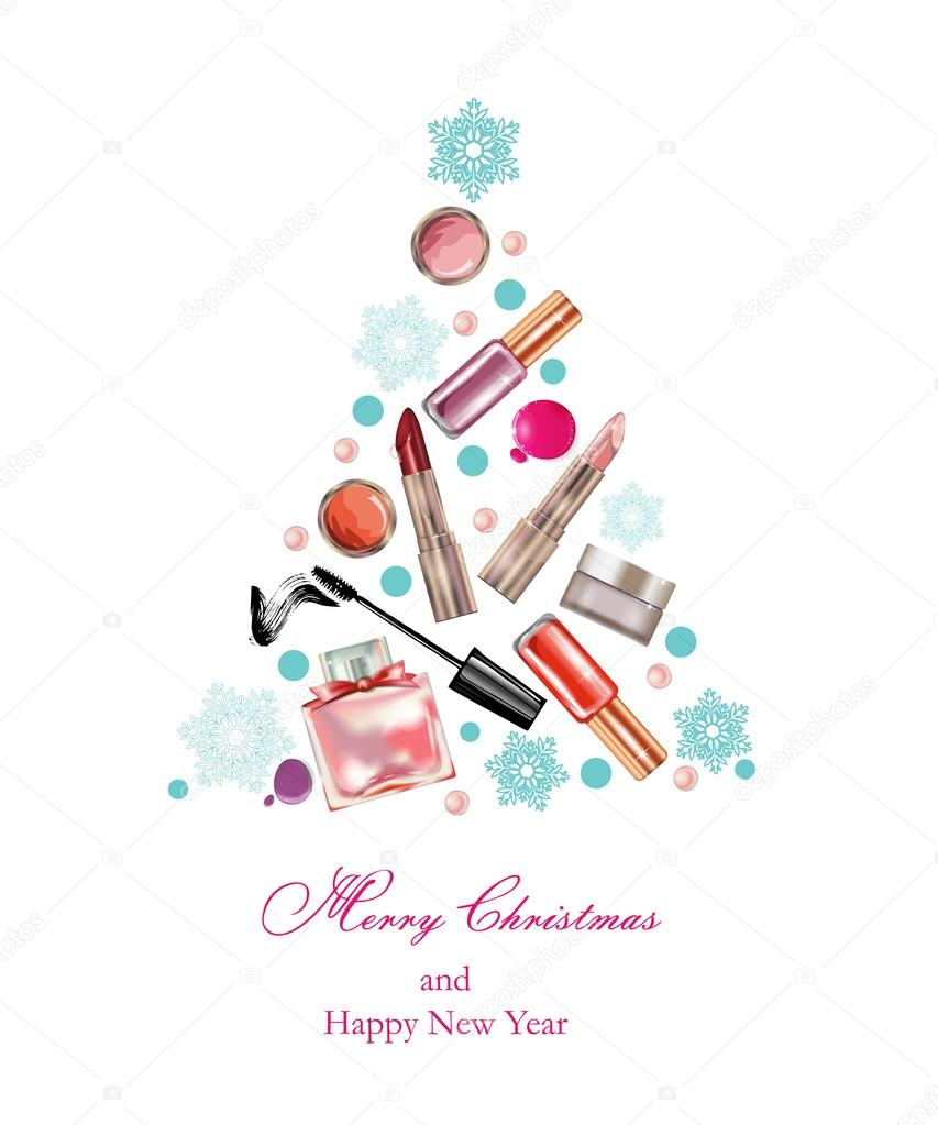 cosmetics and fashion christmas and new year background with a christmas tree made objects cosmetics template vector vector by galina72
