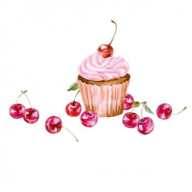 Greeting card with watercolor cupcake and cherries.