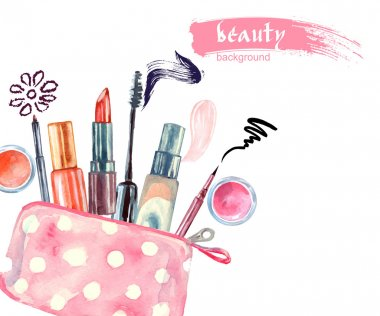 Watercolor cosmetics pattern.