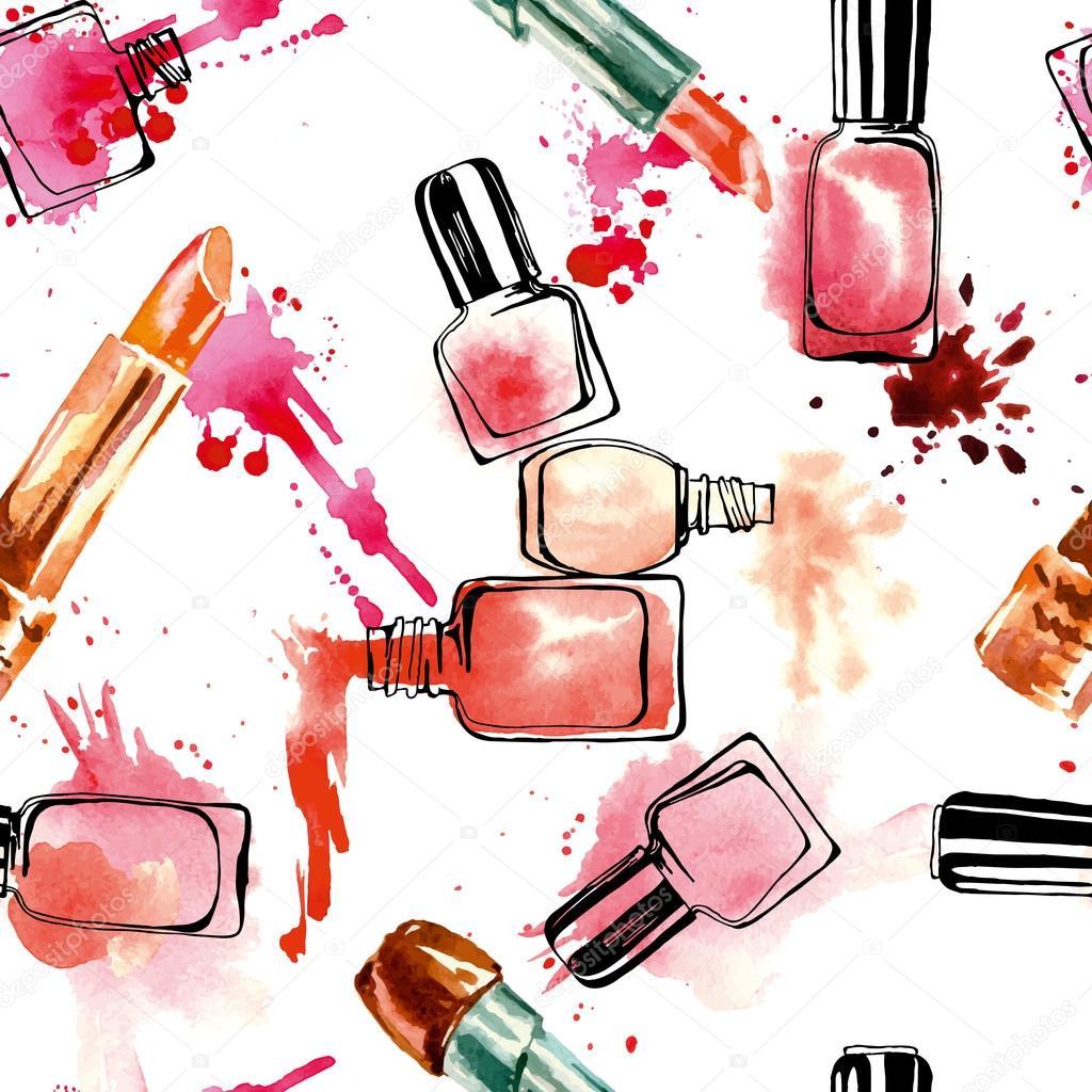 Nail Art Vector: Watercolor Nail Polish And Lipsticks