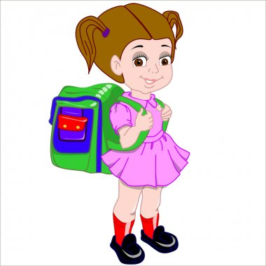 Cartoon vector Illustration. Cute brown-haired girl with a satchel and his arm walking to school. Isolated.