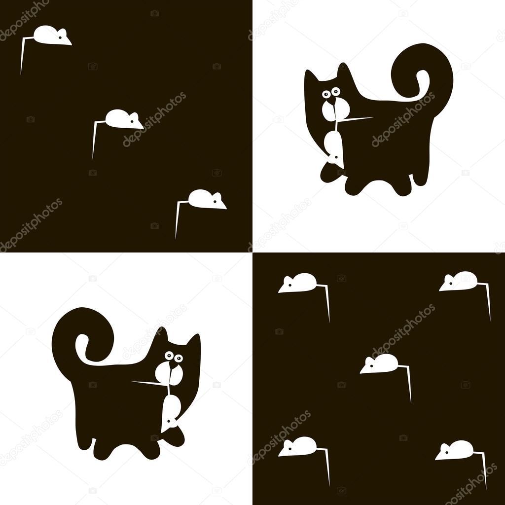 černý kohout v obrazech bílé kočičky