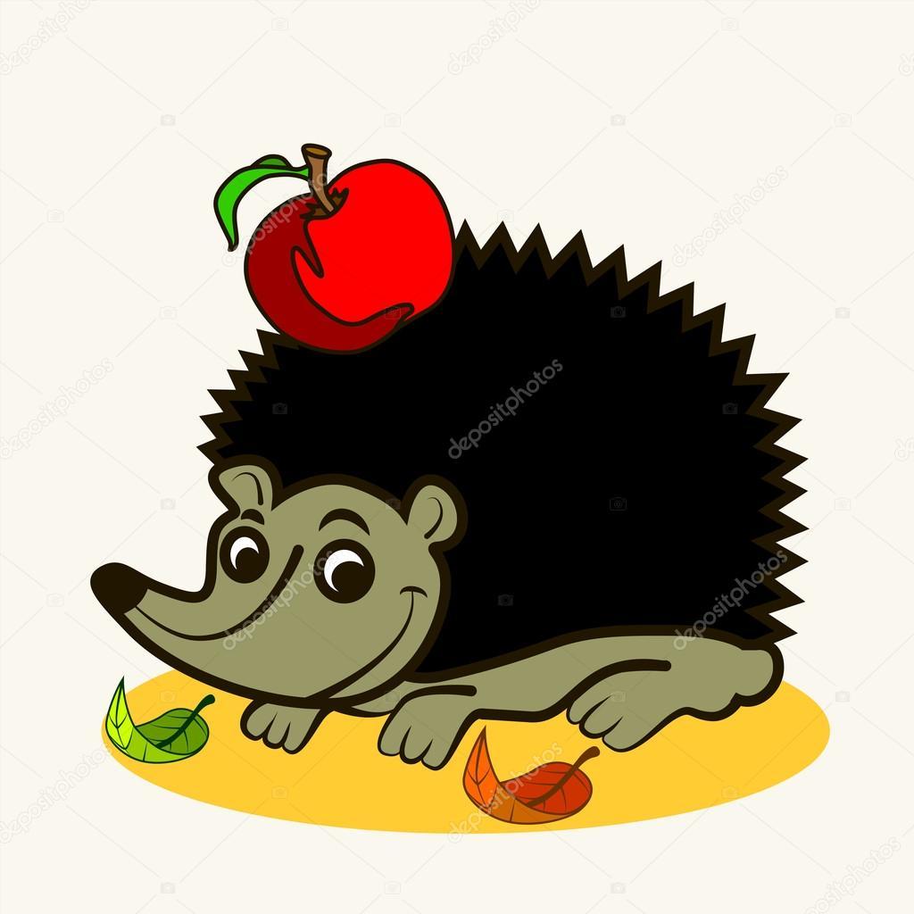 Zabavna Zoo Kreslene Vektorove Ilustrace Roztomily Jezek S Apple