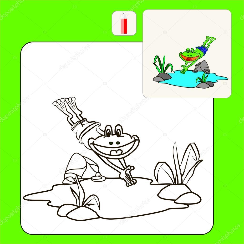 Libro para colorear o página ilustración de dibujos animados de rana ...