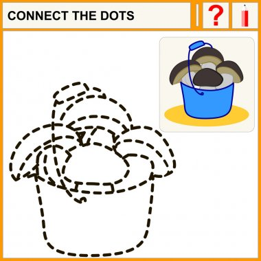 Connect the dots, preschool exercise task for kids, ceps in blue bucket