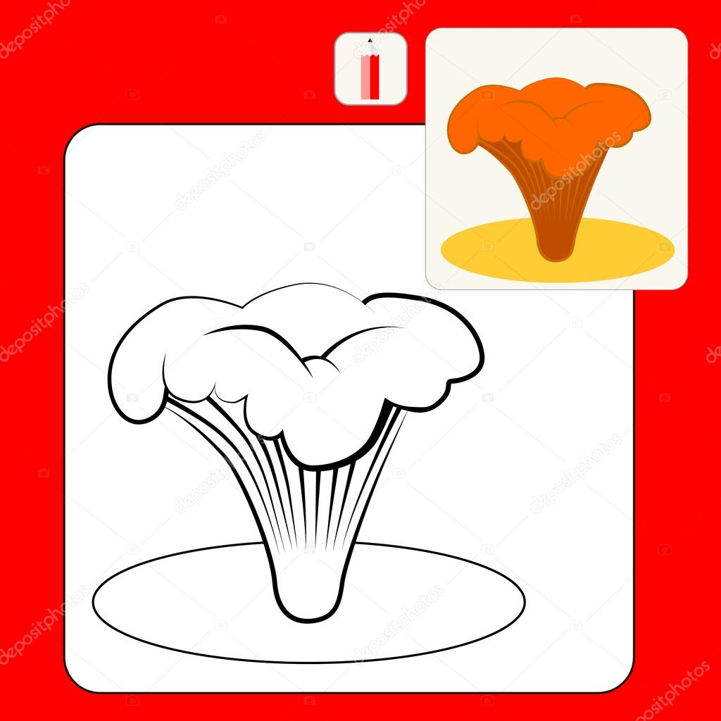 Coloring Book or Page Cartoon Illustration of  cute edible mushrooms. Chanterelle