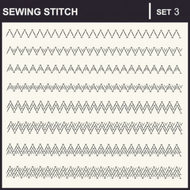 Collection of vector illustration sewing stitch patterns