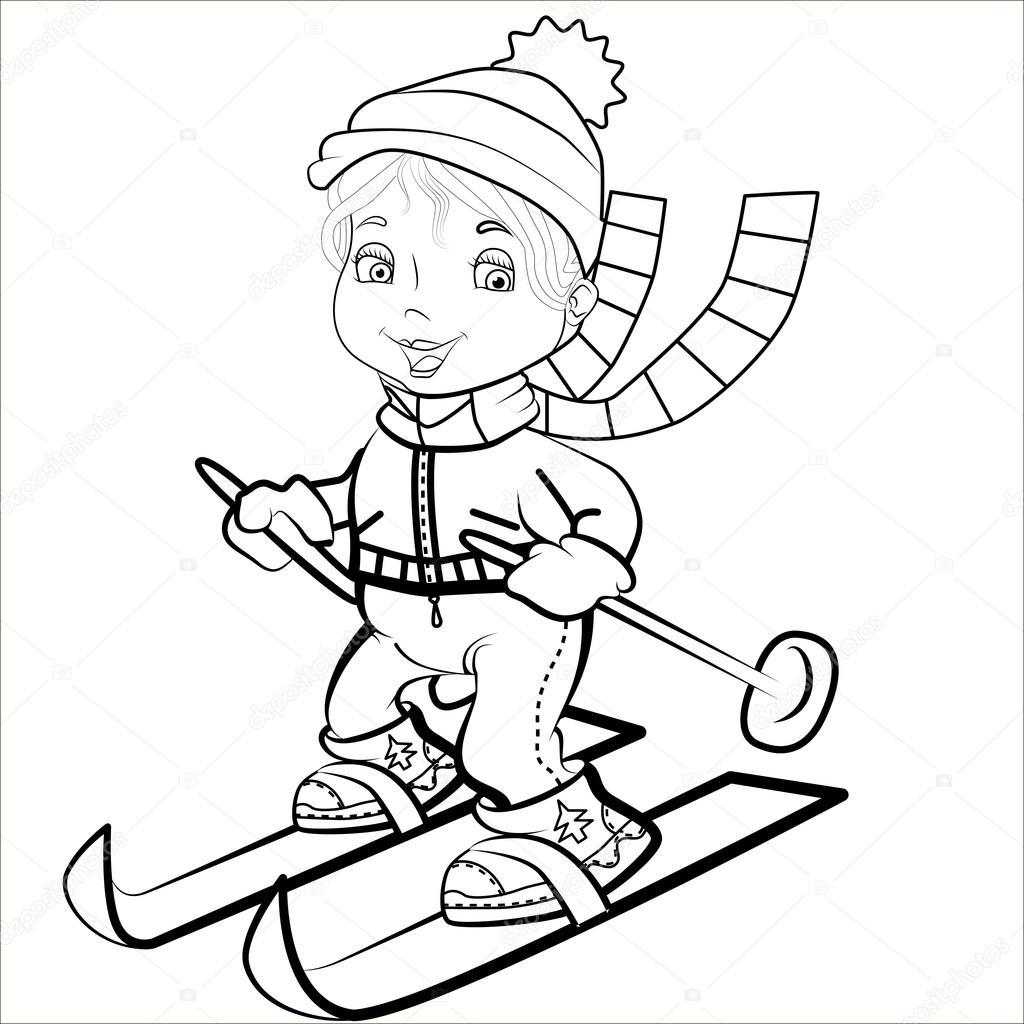 Vektör çizimi Kayak üzerinde Sevimli Komik Küçük Spor Kız çizgi Film