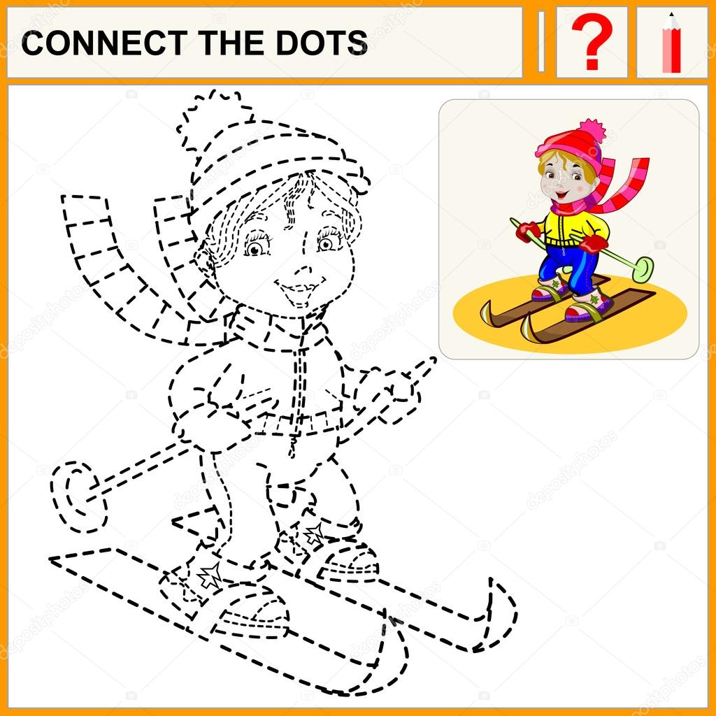 connect the dots preschool exercise task for kids vector