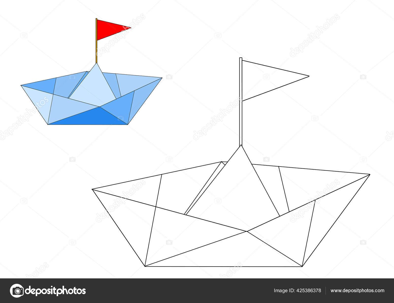 Dibujo Contorno Simple Barco Papel Para Colorear Con Pinturas Foto De Stock Bolba Raisa 425386378