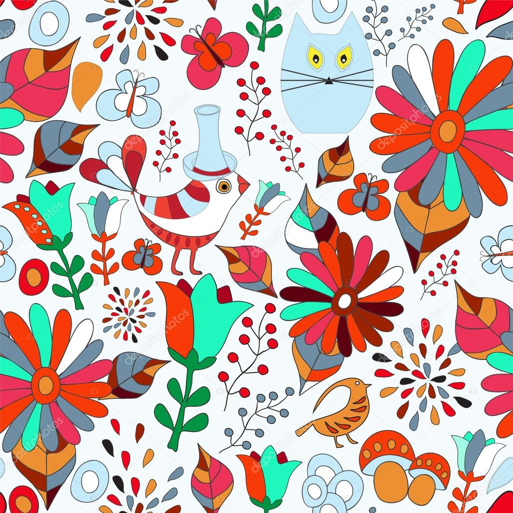 vector seamless pattern with flower, bird and butterfly, cartoon