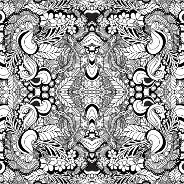 stock vector seamless floral  doodle kaleidoscope pattern.