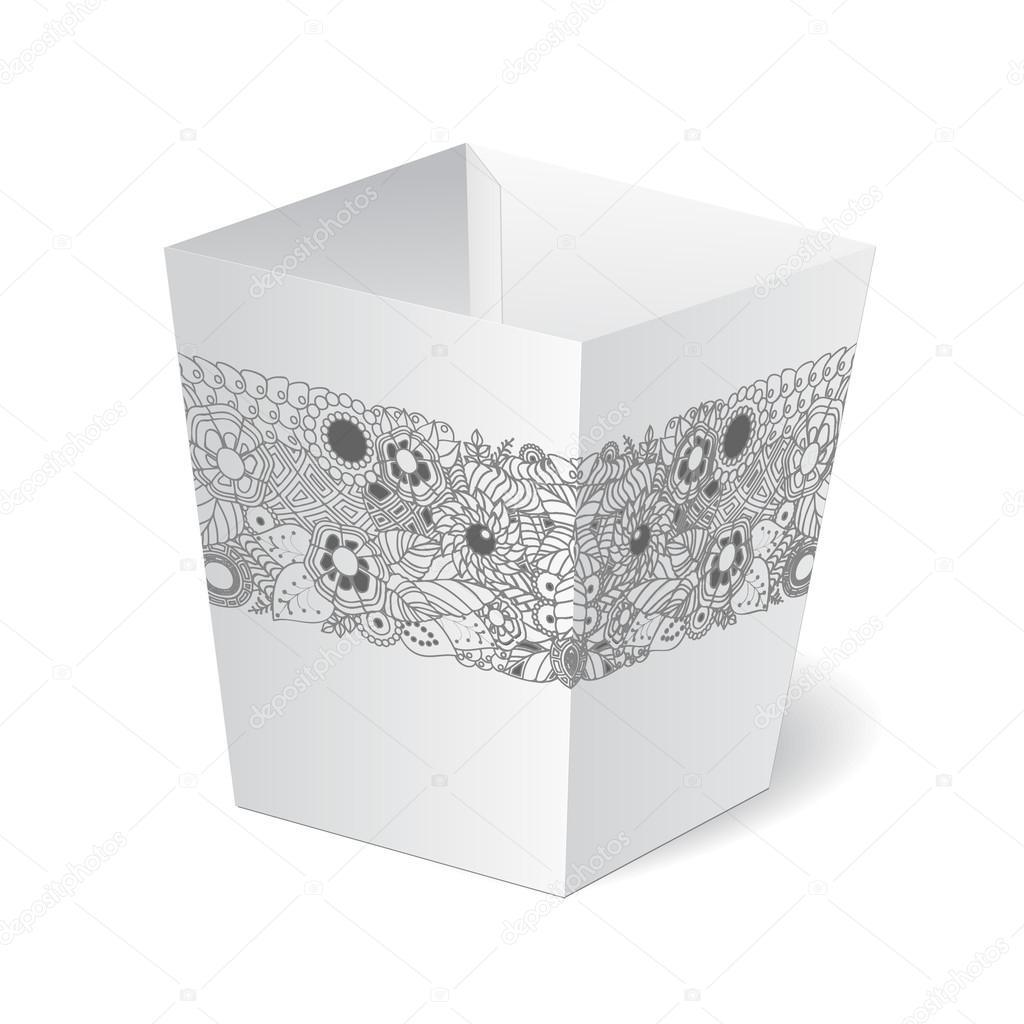 isolierten Karton Verpackung mit Blumenmuster auf der weißen ...