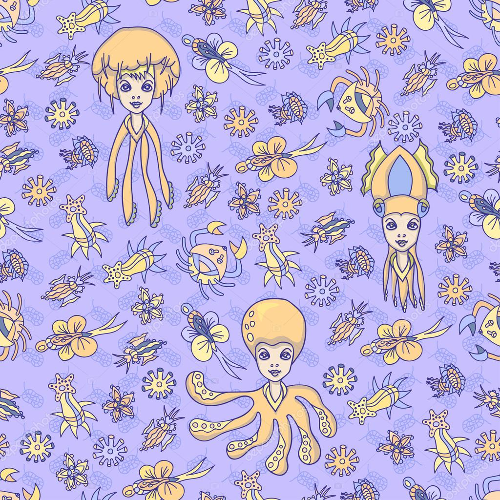 Sea Creature Seamless Pattern with Ocean Flowers, Octopus, Jellyfish and Squid Girls