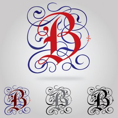 Decorated uppercase Gothic font - Letter B