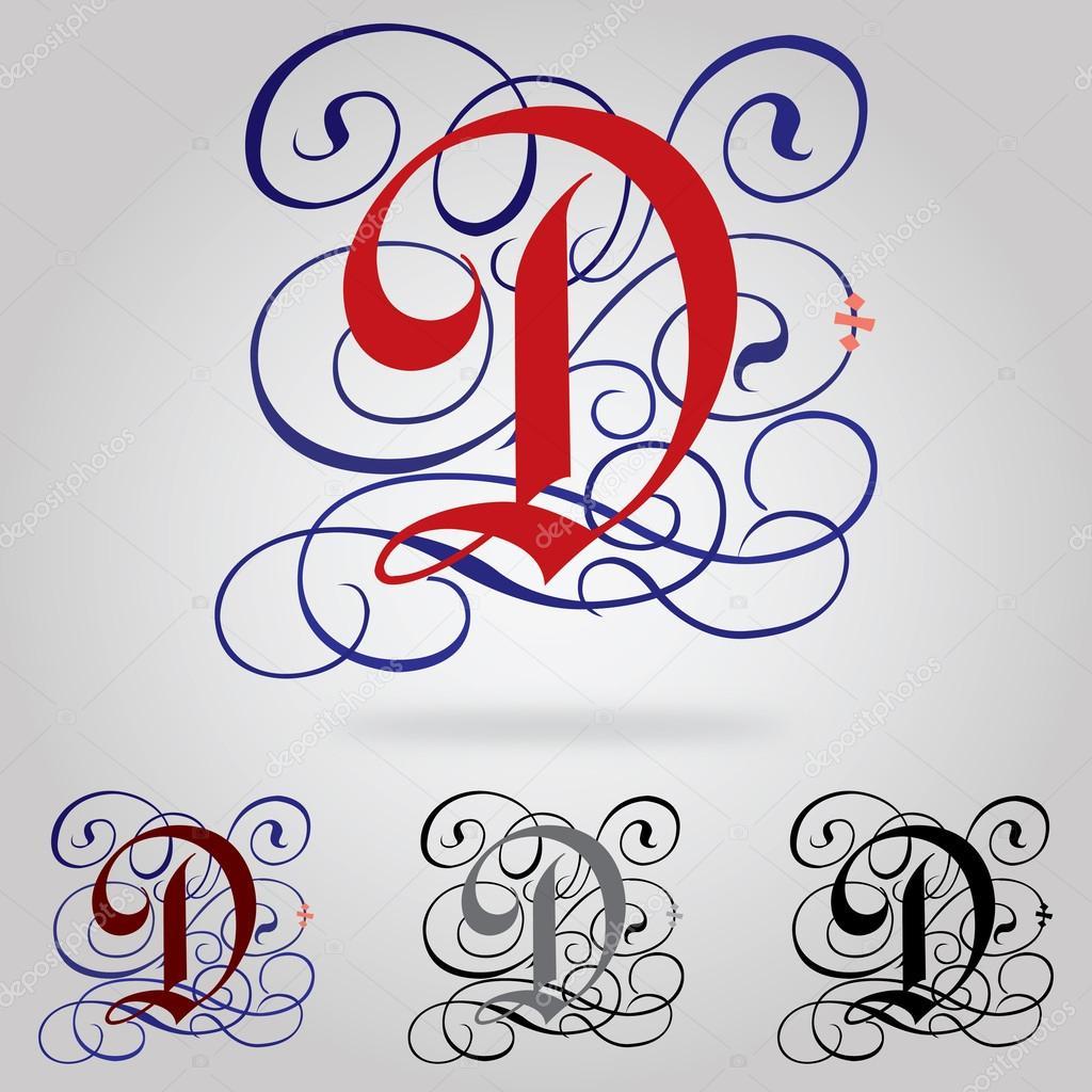 Zdobione Wielkie Litery Gotyckie Czcionki Litera D