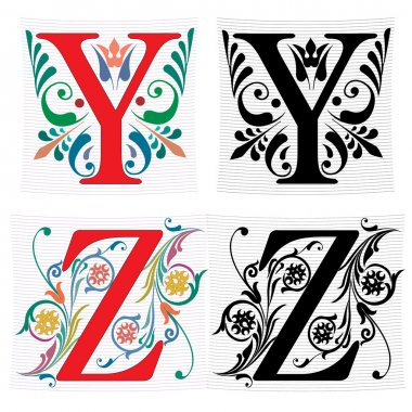 Beautiful decoration English alphabets, letter Y and Z