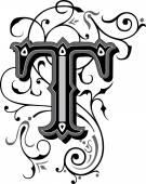 krásně zdobené anglické abecedy, písmeno t