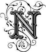 krásně zdobené anglické abecedy, písmeno n