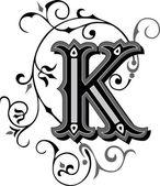 krásně zdobené anglické abecedy, písmeno k