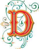 krásně zdobené anglické abecedy, písmeno d