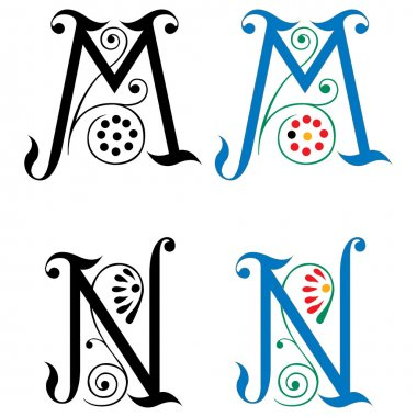 Spring style, basic decoration English alphabets, letter M and N