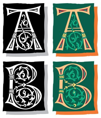 Medieval style English alphabet letters, A and B, mono and color