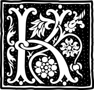 English alphabet with flowers decoration, monochrome letter K