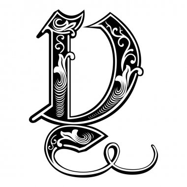 Beautiful decoration English alphabets, Gothic style, letter Y