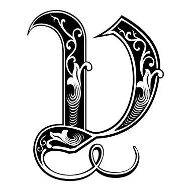 Beautiful decoration English alphabets, Gothic style, letter V