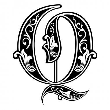 Beautiful decoration English alphabets, Gothic style, letter Q