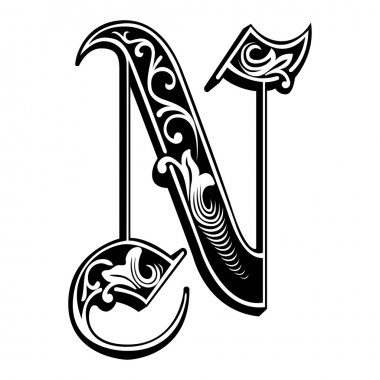 Beautiful decoration English alphabets, Gothic style, letter N