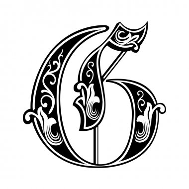 Beautiful decoration English alphabets, Gothic style, letter G