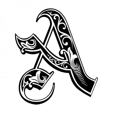 Beautiful decoration English alphabets, Gothic style, letter A