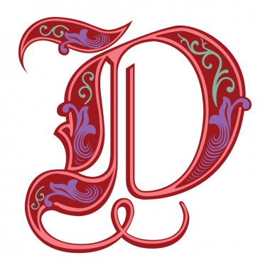 Beautiful decoration English alphabets, Gothic style, letter D