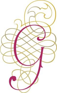 Calligraphic English alphabets, fashionable and stylish letter G