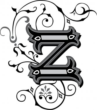 Beautifully decorated English alphabets, letter Z
