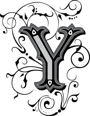 Beautifully decorated English alphabets, letter Y